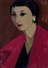 CHAVAZ Albert, 1907-1990 [CH]. Portrait de Denise de Ch.,  gouache sur papier (50 x 36 cm).