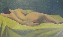 DUBUIS Fernand,  1908-1991 [CH]. Nu allongé, c. 1948,  huile sur toile (45.5 x 73 cm).