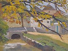 JEANNOT Sarah,  1883-1958 [CH]. Paysage au petit pont,  huile sur carton (28 x 36 cm).