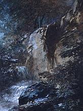 CALAME Alexandre,  1810-1864 [CH]. Ruisseau en montagne,  aquarelle sur papier (18.5 x 14 cm).