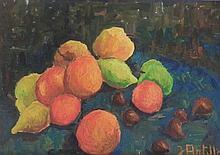 ANTILLE Jeannette,  1929-2007 [CH]. Nature morte aux fruits,  huile sur toile (33 x 46 cm).