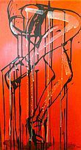LezaOne [CH]. Sans titre,  Peinture acrylique sur bois (58 x 32 cm).