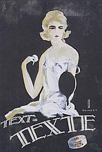 PEIKERT Martin,  1901-1975 [CH]. Femme au miroir,  gouache sur papier (28.5 x 19.5 cm).