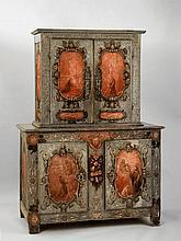 Buffet deux corps, Italie, XIXe s. (haut. 172 cm,