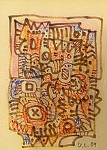 CRIVELLI Ugo, 1923-1998 [CH]. Composition abstraite, (19)89,