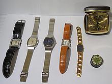 Lot de quatre montres, deux reveils.