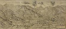 Carte ancienne représentant une vue de village,