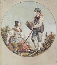 ANONYME, 19 > [CH]. Lot de six estampes représentant des couples dans des paysages de cantons Suisse (Fribourg, Underwalden, Glaris, Appenzell, Soleur et Uri),