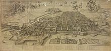 Carte ancienne représentant une vue de ville,