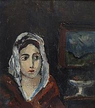 ANONYME,  20 >. Portrait de femme à la coiffe blanche,