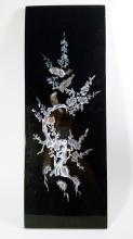 Vintage Asian Fine Art - Black Lacquer Wood with Mother of Pearl Inlay Art Decoration