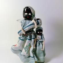Vintage Wooden Handmade Black Composition Doll set, Mother with Baby and Child, Dominican Republic, c. 1980