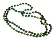 A Chinese Malichite and 14K Gold Necklace