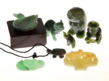 (8) Pieces Carved Jade Including Chinese