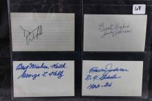 Autographed index cards: