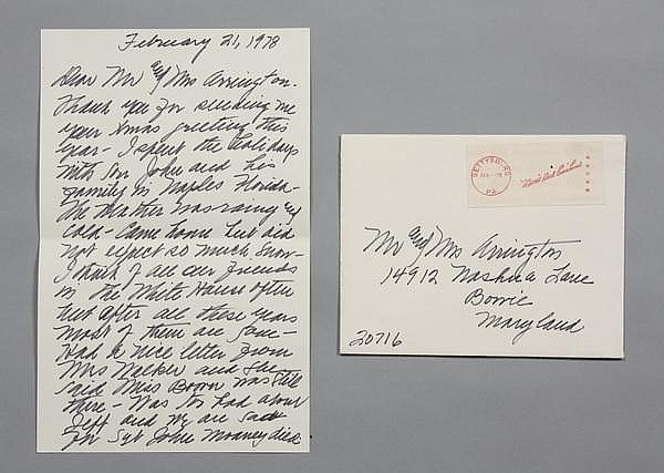 First Lady Mamie Eisenhower handwritten note
