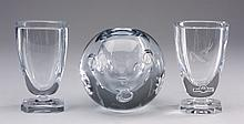 (3) Swedish art glass vases