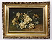 19th c. oil on canvas still life, signed