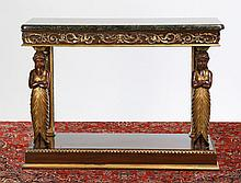 Carved and parcel gilt mahogany console