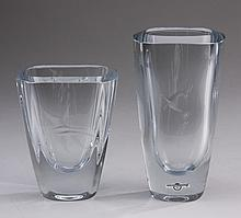 (2) Mid 20th c. Swedish etched glass vases