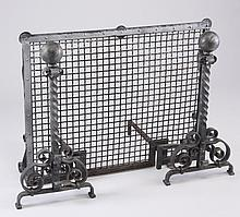 Late 19th c. iron fire screen and andirons
