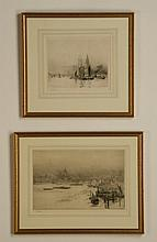 (2) 19th c. framed etchings, signed Wylie