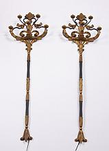 (2) Oversized gilt wood wall sconces