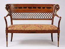 20th c. carved and inlaid settee