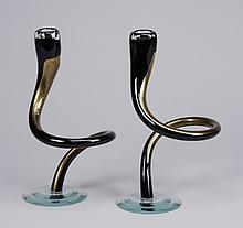 (2) Art glass candleholders