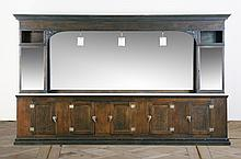 Early 20th c. oak marble top back bar