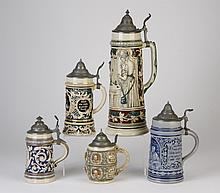 (5) Ceramic German steins  w/ pewter lids