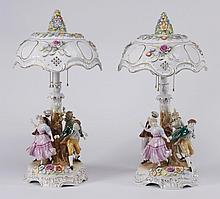 (2) German hand painted porcelain lamps