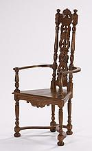 American carved oak armchair