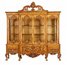 Carved mahogany bookcase / china cabinet