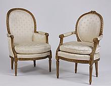 (2) Similar giltwood armchairs