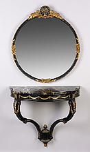 Ebonized, gilt mirror and console table