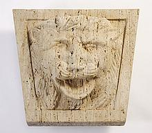 Carved stone lion plaque