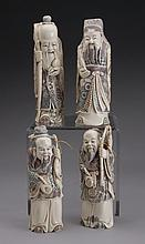 (4) 19th c. Chinese carved ivory figures