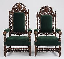 (2) 19th c. carved oak armchairs
