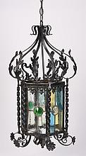 Wrought iron hanging lantern