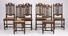 (6) 19th c. French carved oak & cane chairs
