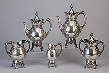 5-piece 19th c. silver plate coffee & tea set