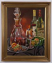 20th c. oil on canvas still life, signed
