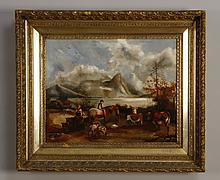 19th c. oil on canvas, pastoral scene