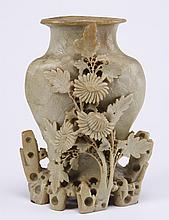 20th c. Chinese export carved soapstone vase