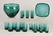 (24) Swedish green glass bowls and glasses