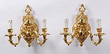 Pair of Italian gilt bronze wall sconces