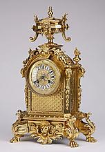 Late 19th c. gilt bronze mantel clock