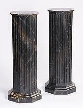 (2) Hand decorated wood pedestals