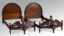 (2) Swan form mahogany twin beds